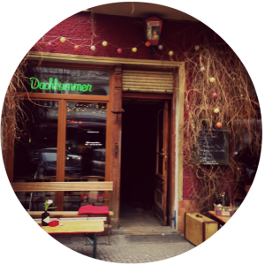 Friday night in Friedrichshain. Dachkammer Bar & Café, Simon-Dach Strasse No.39.